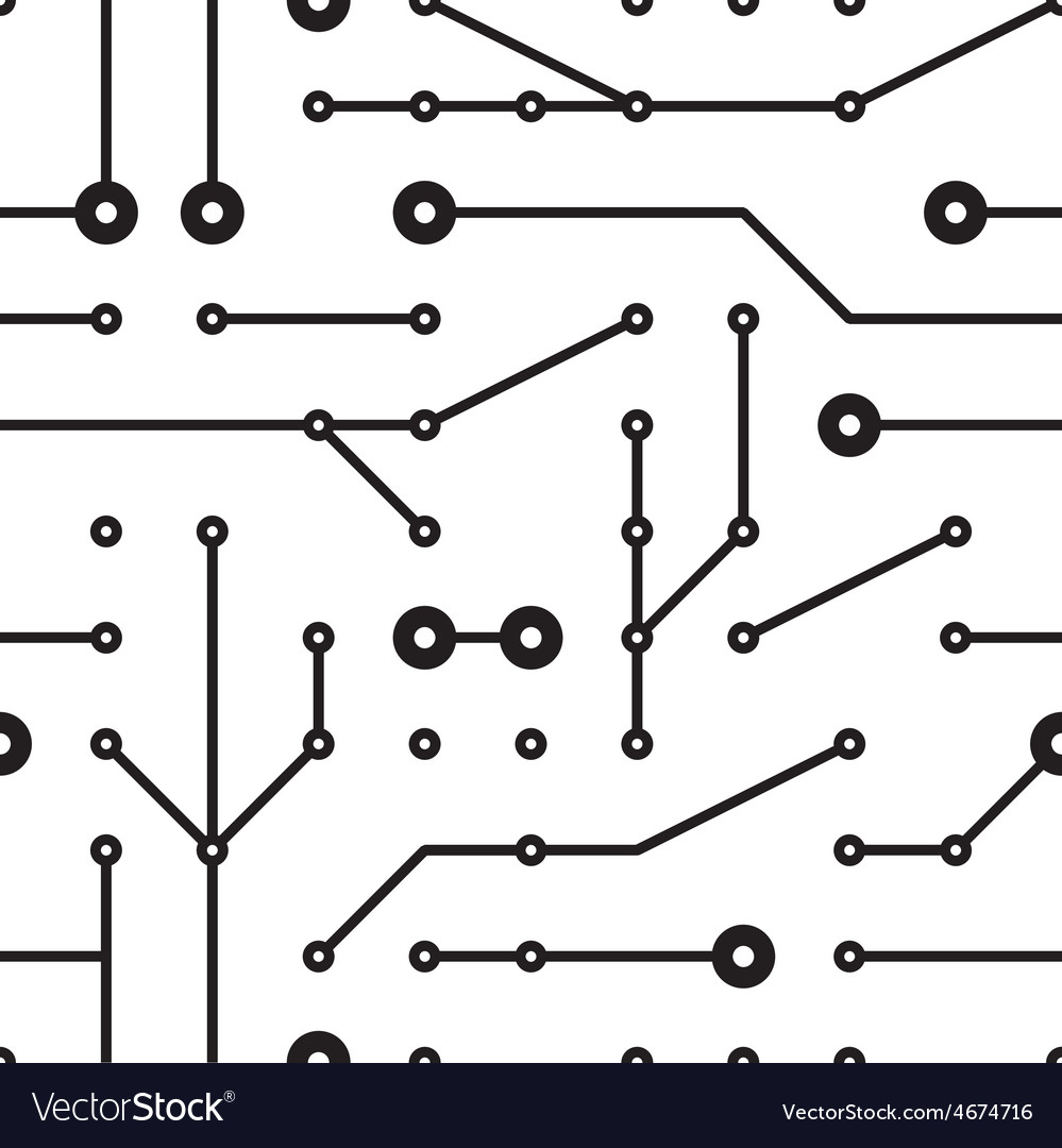 Printed circuit seamless pattern vector | Price: 1 Credit (USD $1)