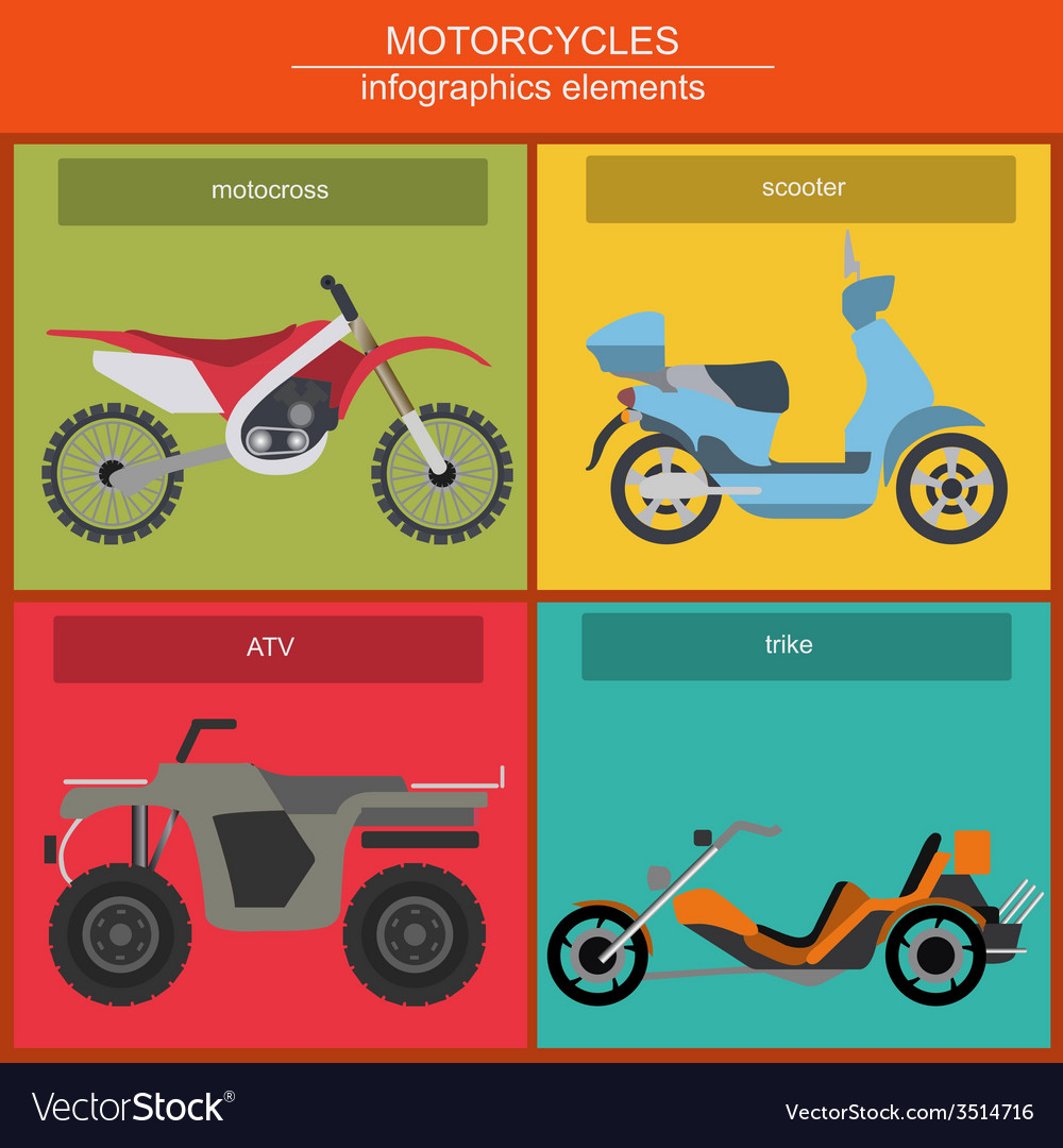 Set of elements motorcycles for creating your own vector | Price: 1 Credit (USD $1)