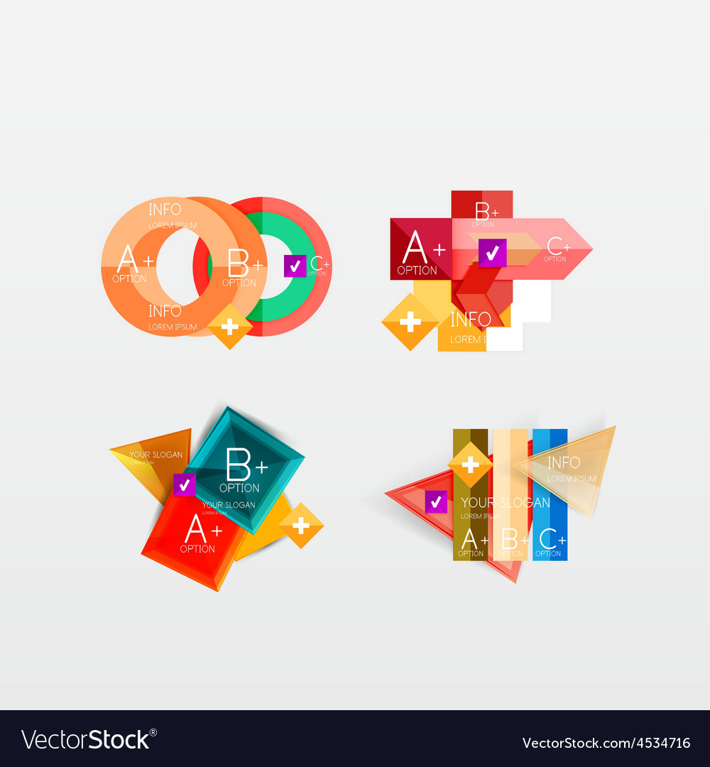Set of modern geometric infographic web layouts vector | Price: 1 Credit (USD $1)