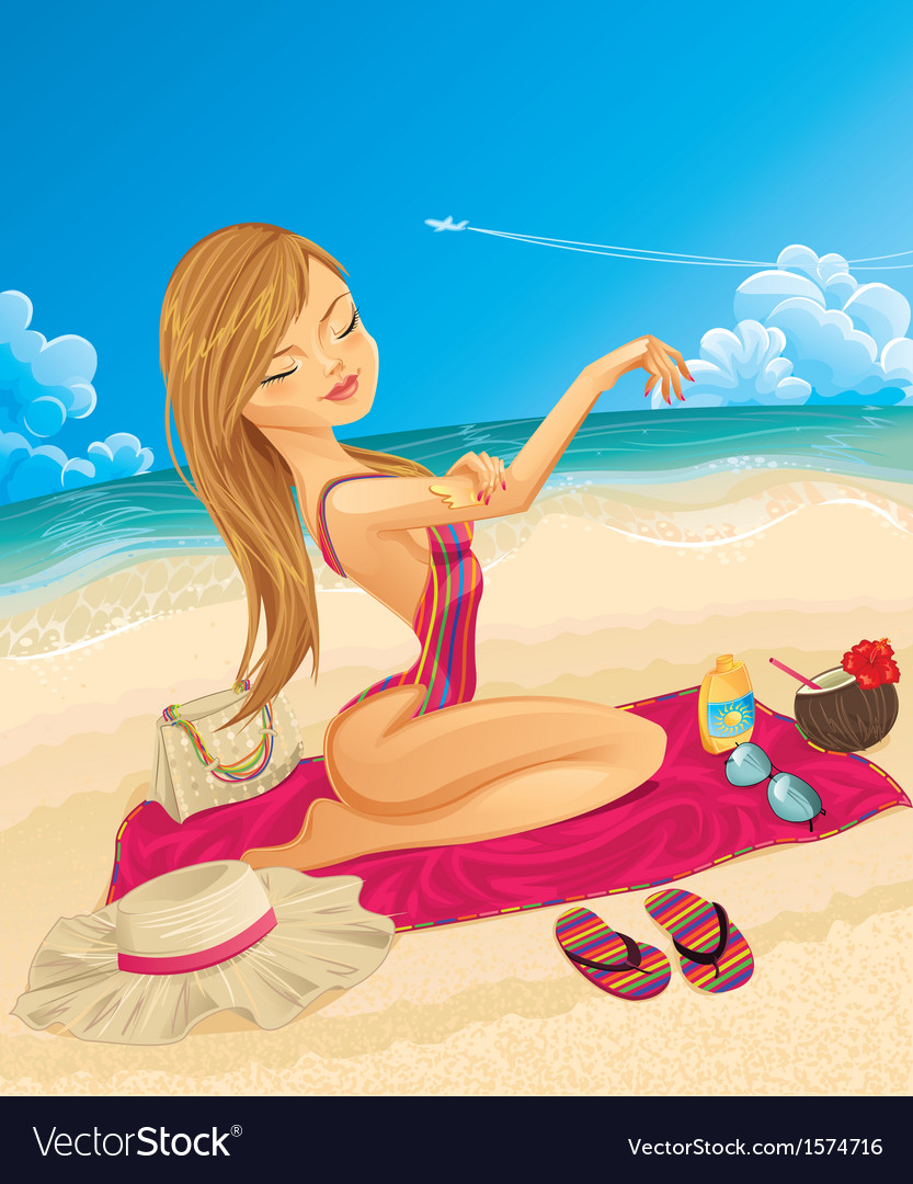Young woman on vacation vector | Price: 3 Credit (USD $3)