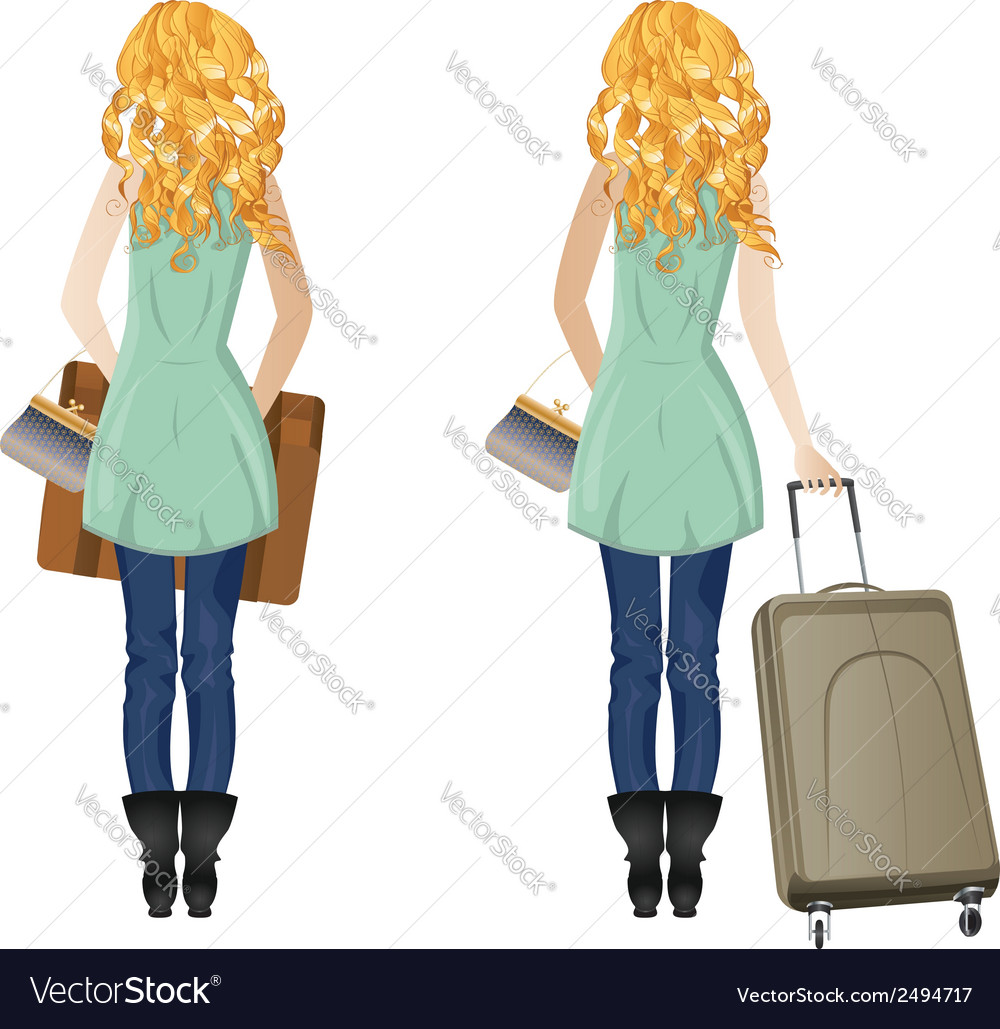 Blonde woman with suitcase vector | Price: 1 Credit (USD $1)