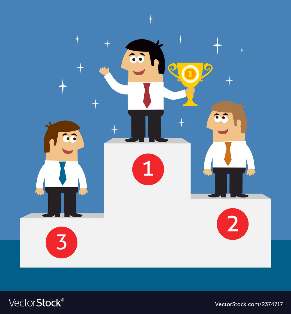 Business life employees on winners podium vector | Price: 1 Credit (USD $1)