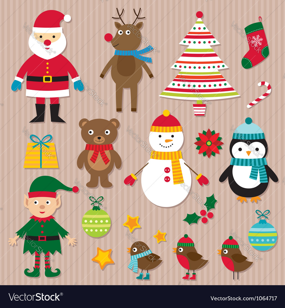 Christmas design elements set vector | Price: 3 Credit (USD $3)