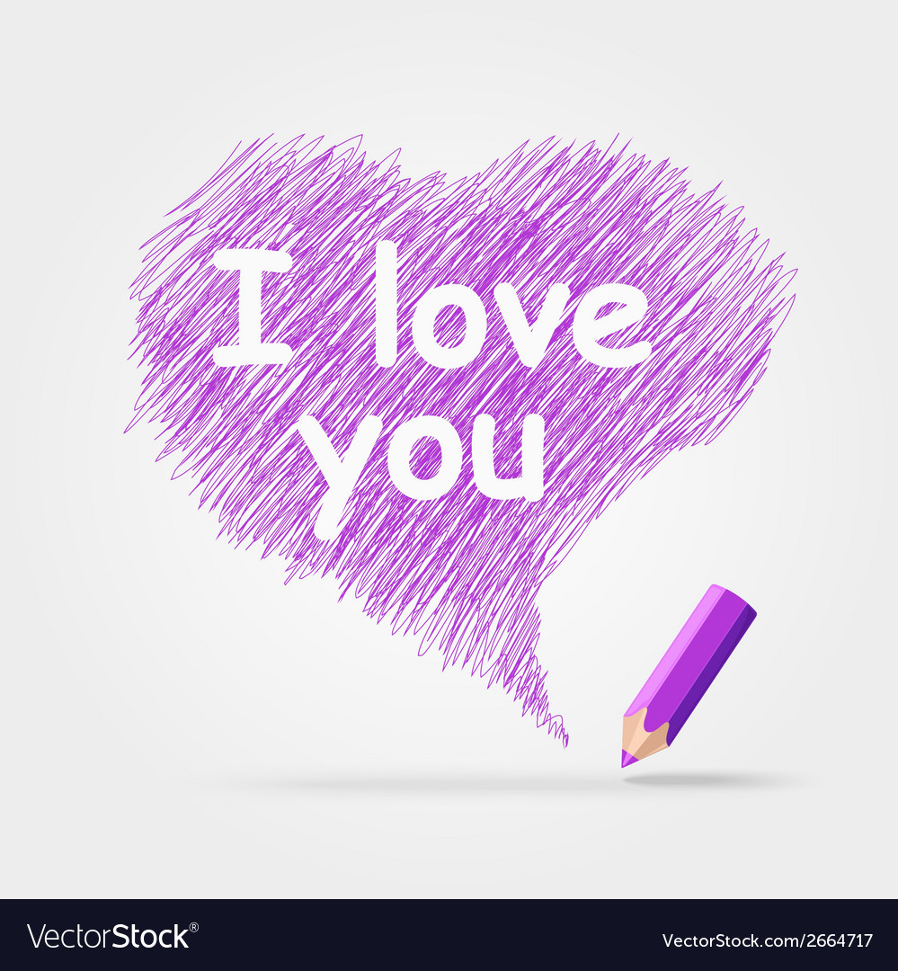 Colored pencils text i love you vector | Price: 1 Credit (USD $1)