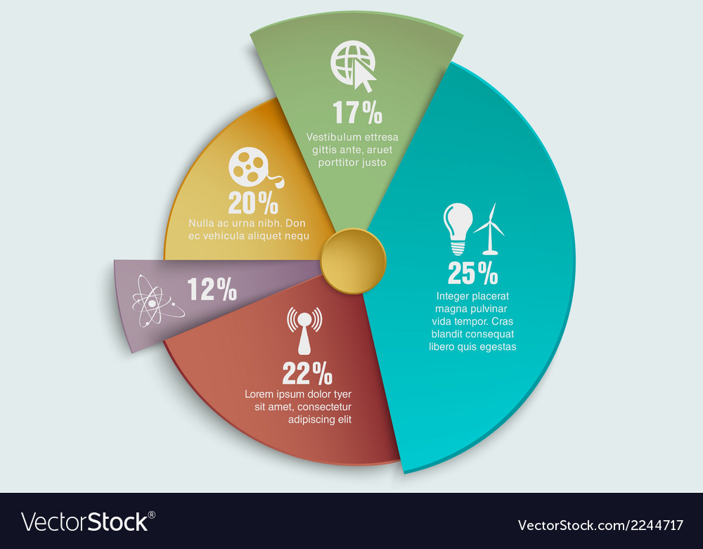 Colorful business pie chart vector | Price: 1 Credit (USD $1)