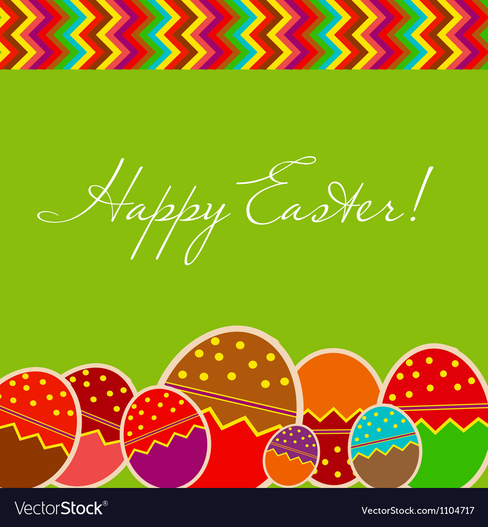 Easter eggs card with colourful eggs vector | Price: 1 Credit (USD $1)