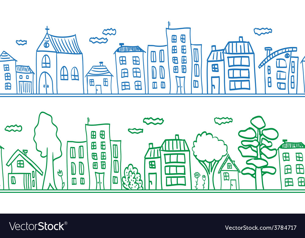 Houses seamless pattern background vector | Price: 1 Credit (USD $1)