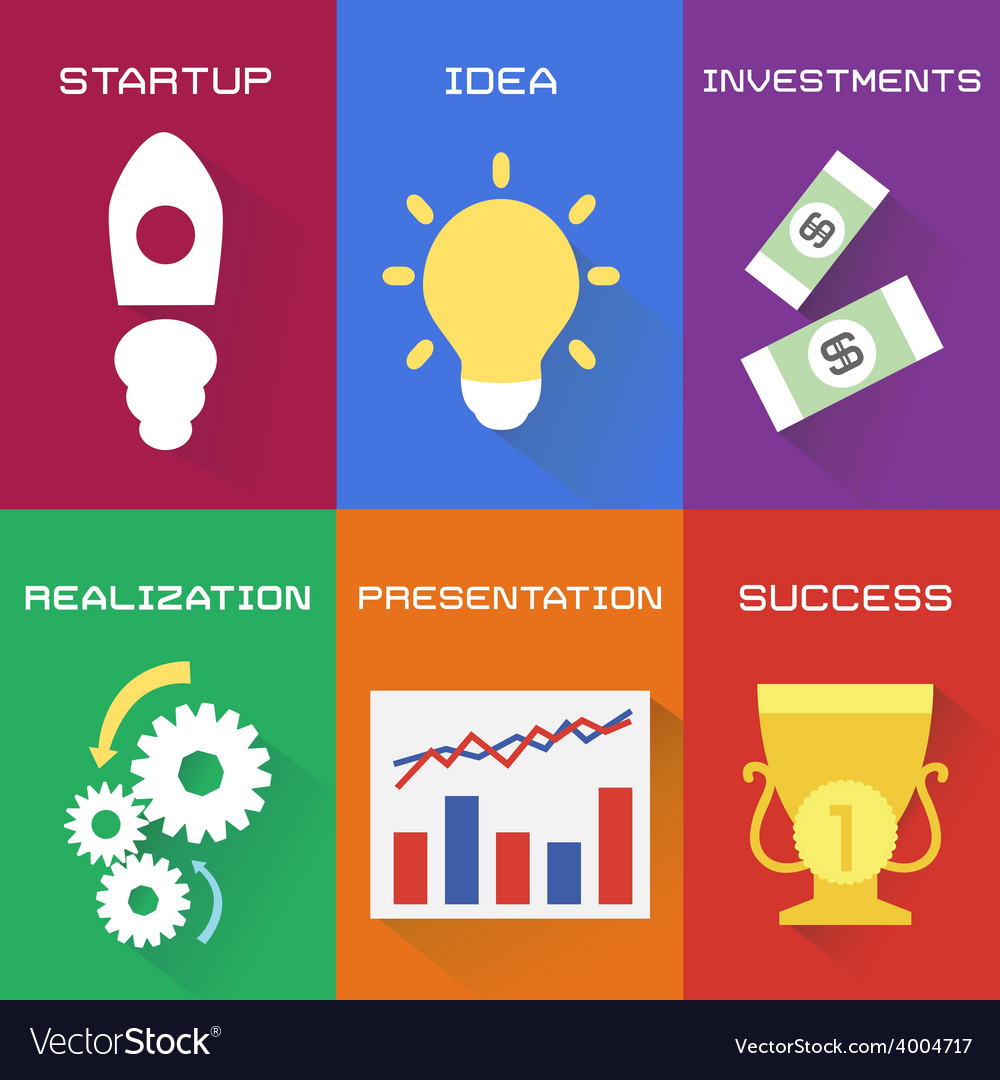 Icons of business process in flat style vector   Price: 1 Credit (USD $1)