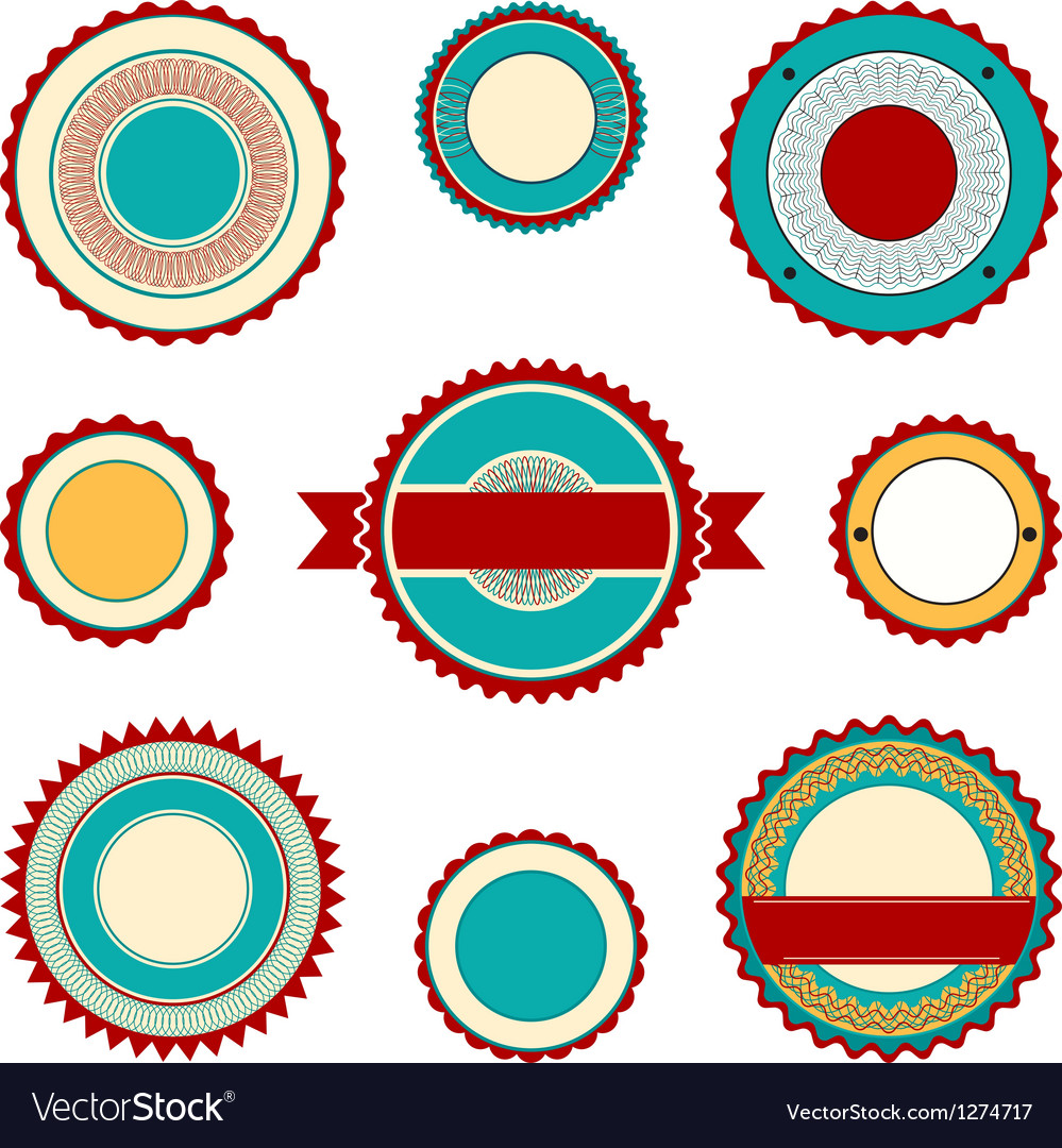 Labels with guilloche elements in turquoise vector | Price: 1 Credit (USD $1)