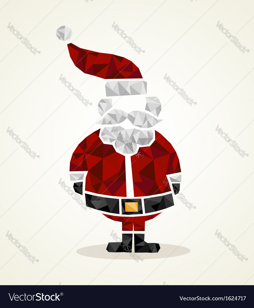 Merry christmas trendy santa claus triangle shape vector | Price: 1 Credit (USD $1)