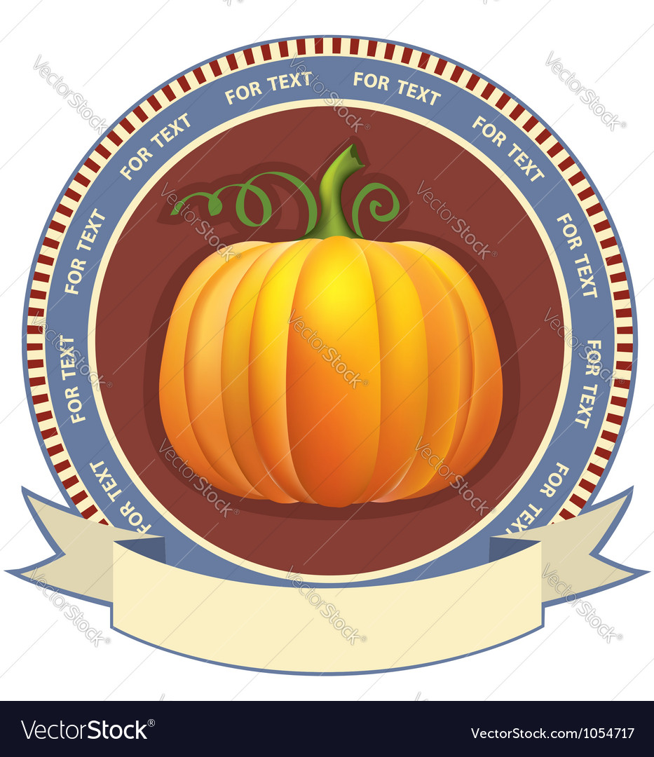 Pumpkin label with scroll for text retro image vector | Price: 1 Credit (USD $1)