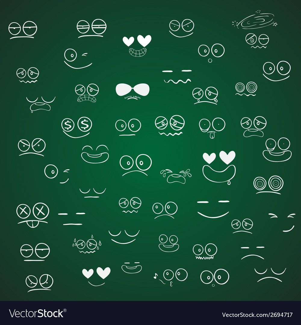 Set of emotions cartoon on green board vector | Price: 1 Credit (USD $1)