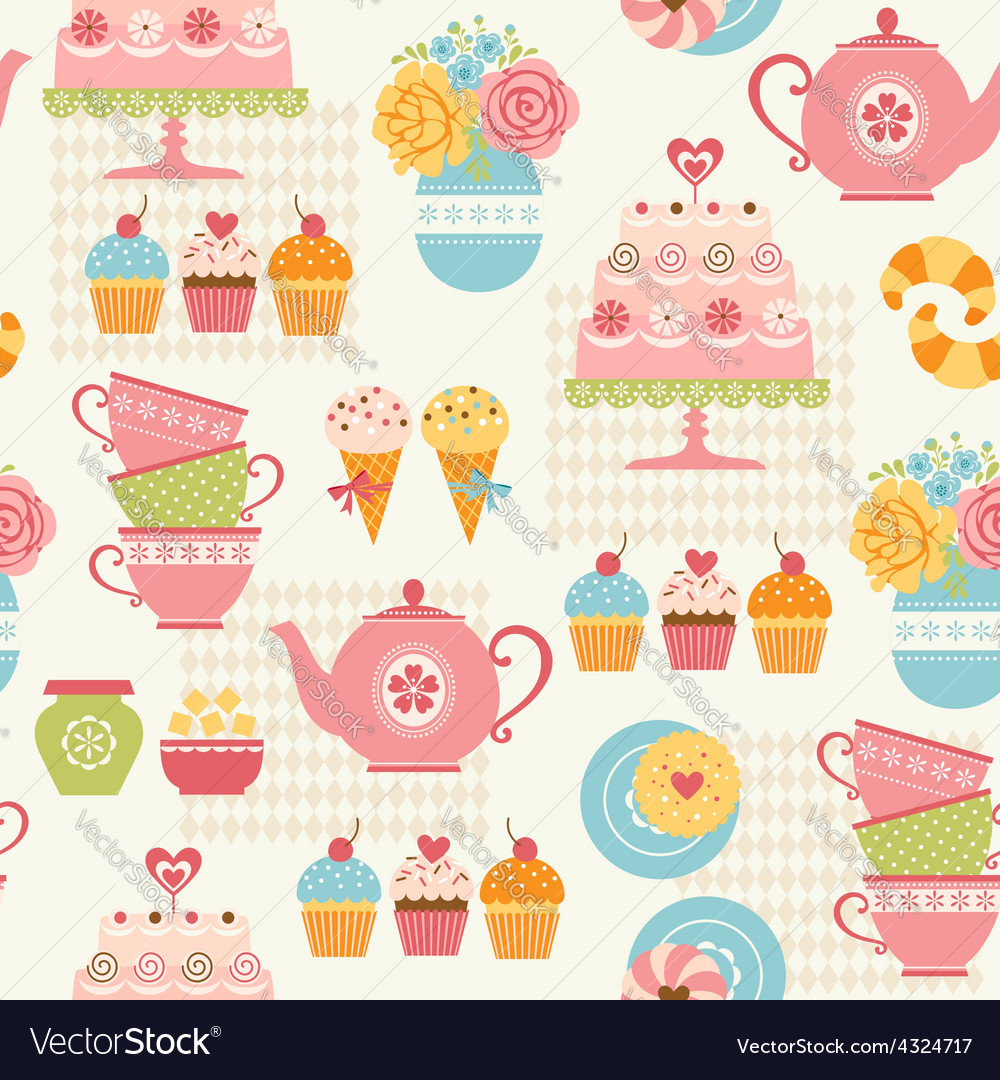Tea party pattern vector | Price: 1 Credit (USD $1)