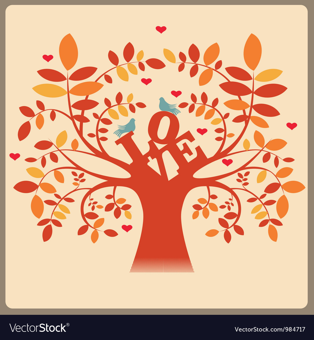 Tree with love message and doves vector | Price: 1 Credit (USD $1)