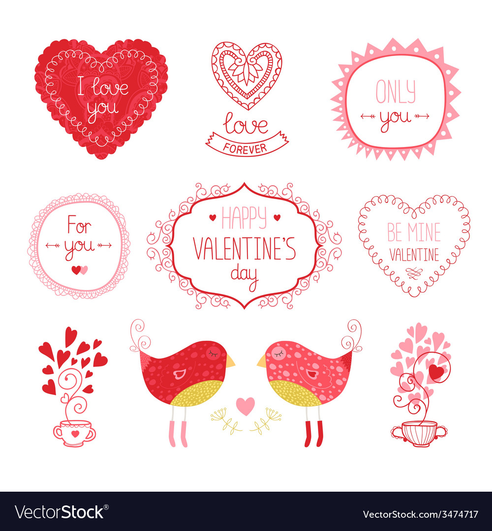 Valentine elements for design vector | Price: 1 Credit (USD $1)