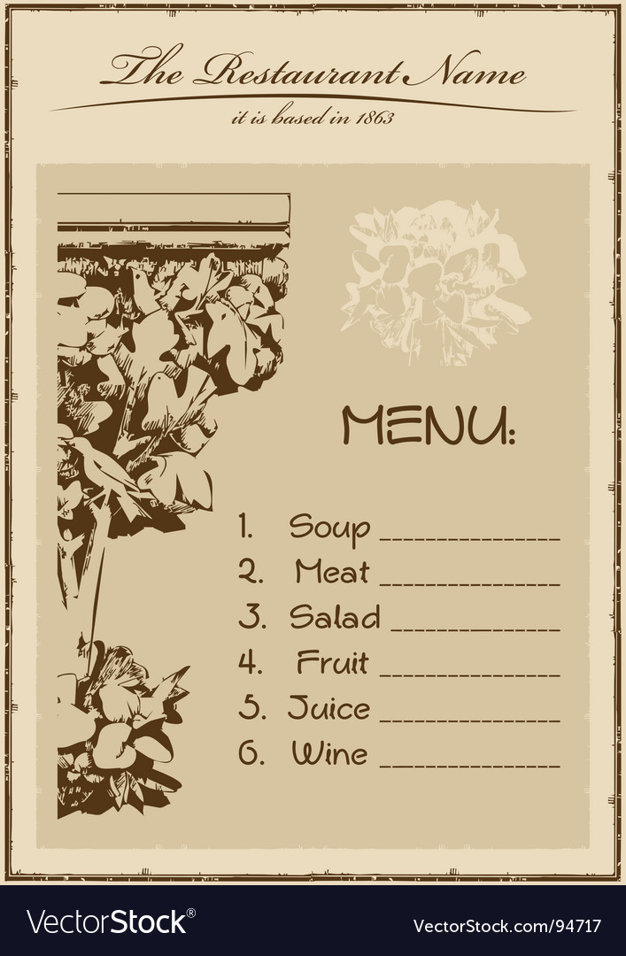 Vintage menu restaurant vertical vector | Price: 1 Credit (USD $1)