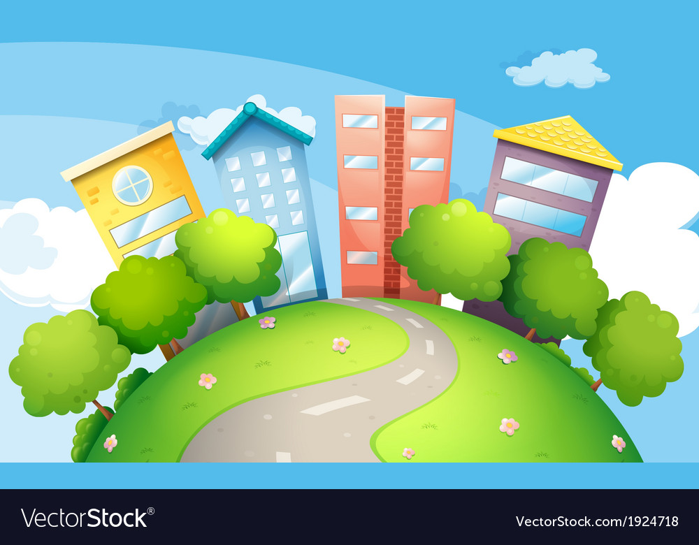 A narrow road going to the tall buildings vector | Price: 3 Credit (USD $3)
