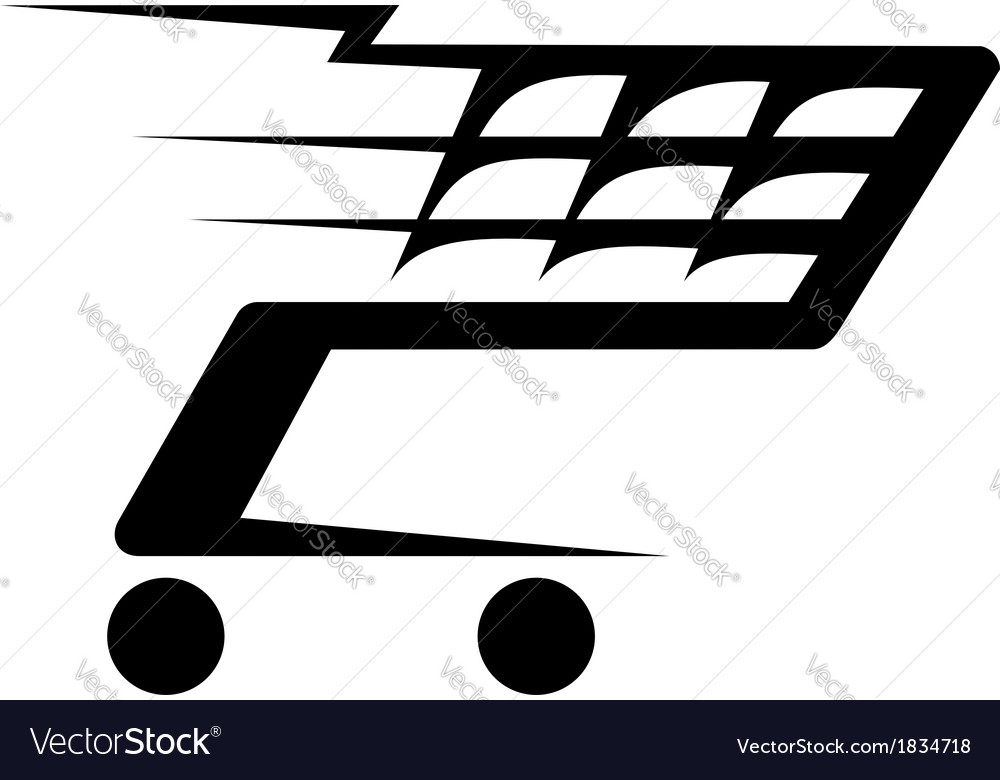 Abstract of a shopping cart moving vector | Price: 1 Credit (USD $1)