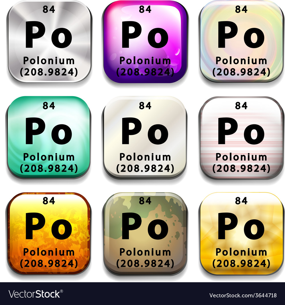 Buttons showing polonium and its abbreviation vector | Price: 1 Credit (USD $1)
