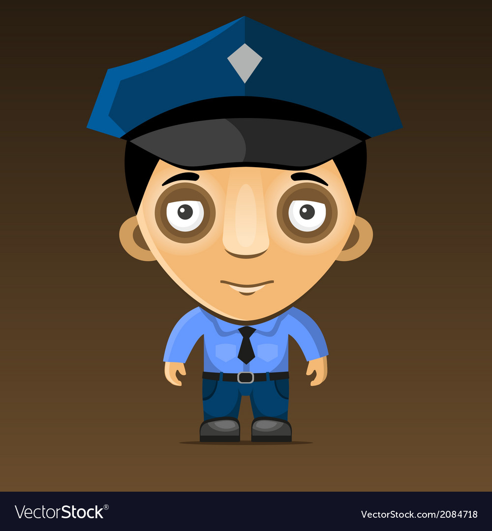 Cartoon police officer on dark background vector | Price: 1 Credit (USD $1)