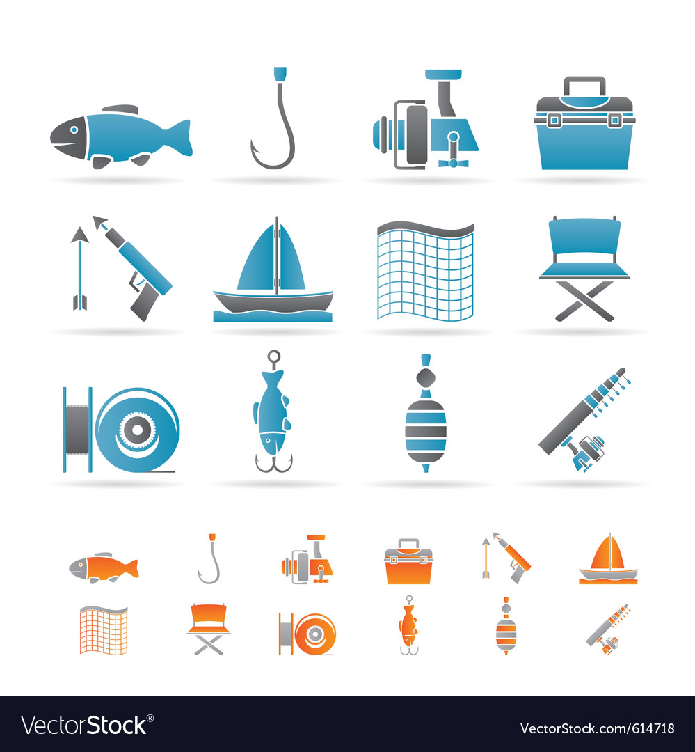 Fishing and holiday icons vector | Price: 1 Credit (USD $1)