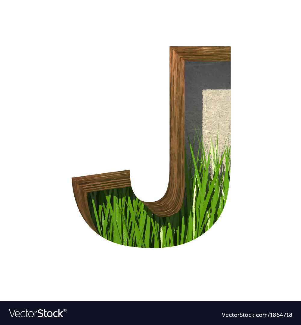 Grass cutted figure j paste to any background vector | Price: 1 Credit (USD $1)
