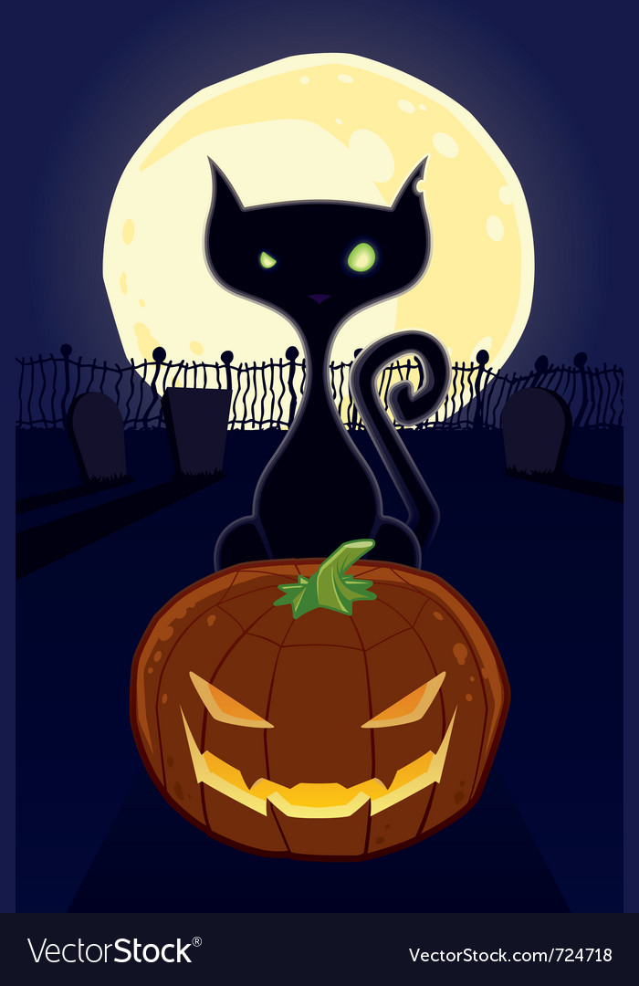 Halloween night black cat vector | Price: 1 Credit (USD $1)