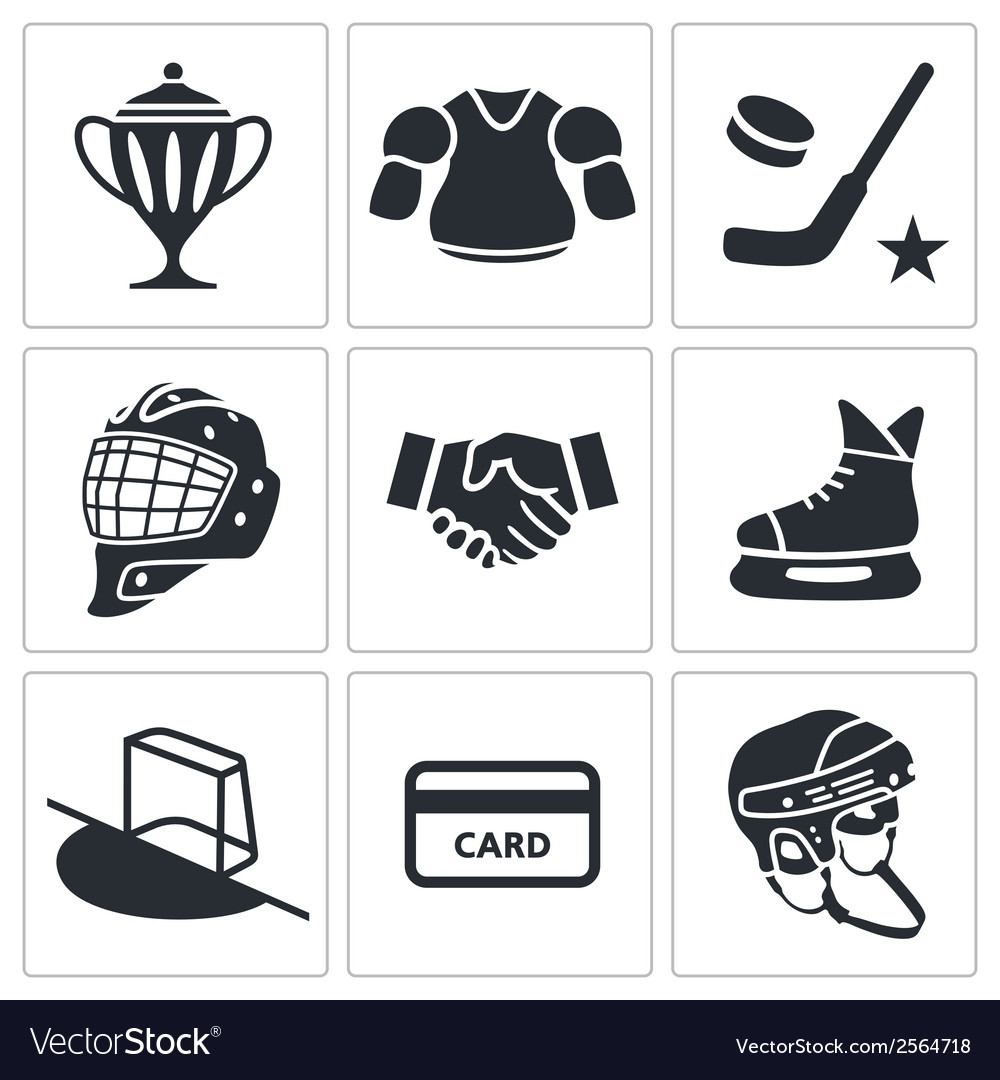 Hockey icon collection vector | Price: 1 Credit (USD $1)