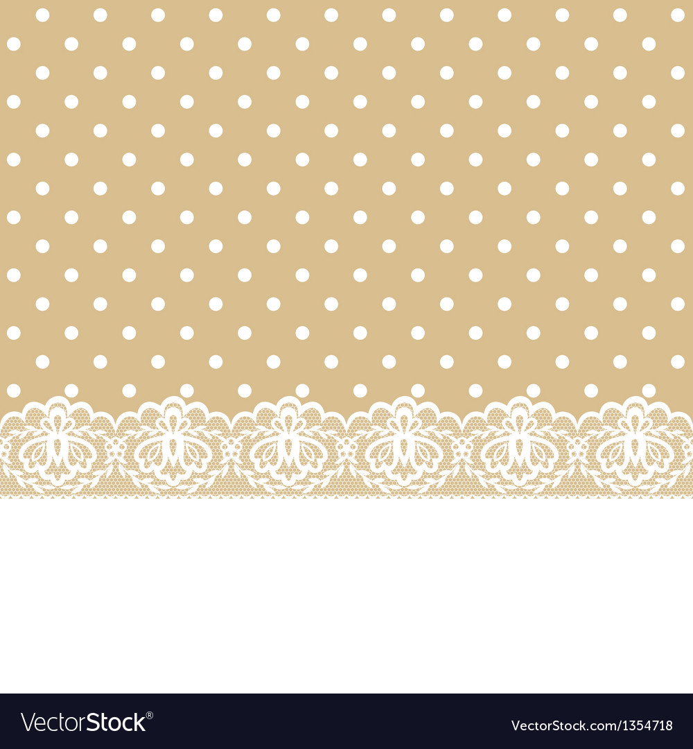 Lace and ribbon on polka dot fabric vector | Price: 1 Credit (USD $1)
