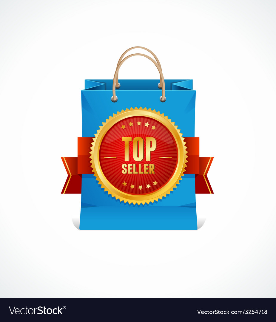 Paper bag and gold label top seller vector | Price: 1 Credit (USD $1)
