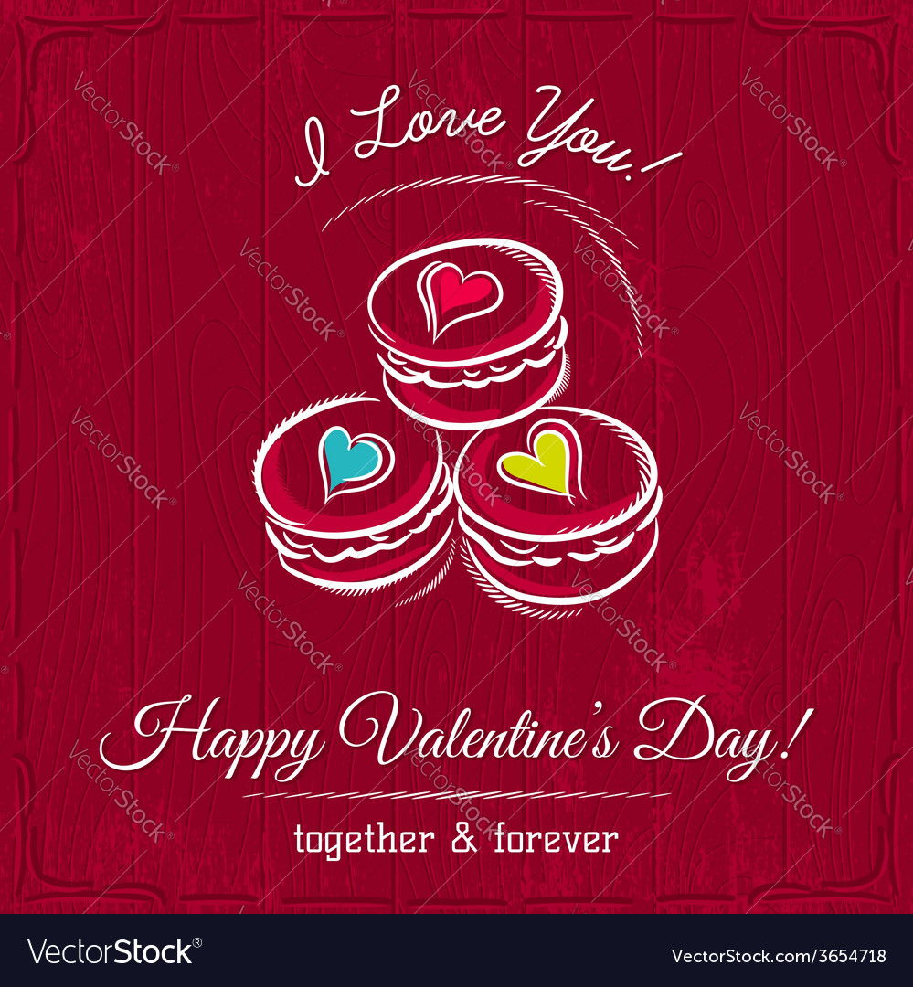 Red valentine card with macaroni and wishes text vector | Price: 1 Credit (USD $1)