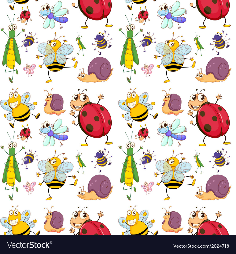 Seamless design with insects vector   Price: 3 Credit (USD $3)