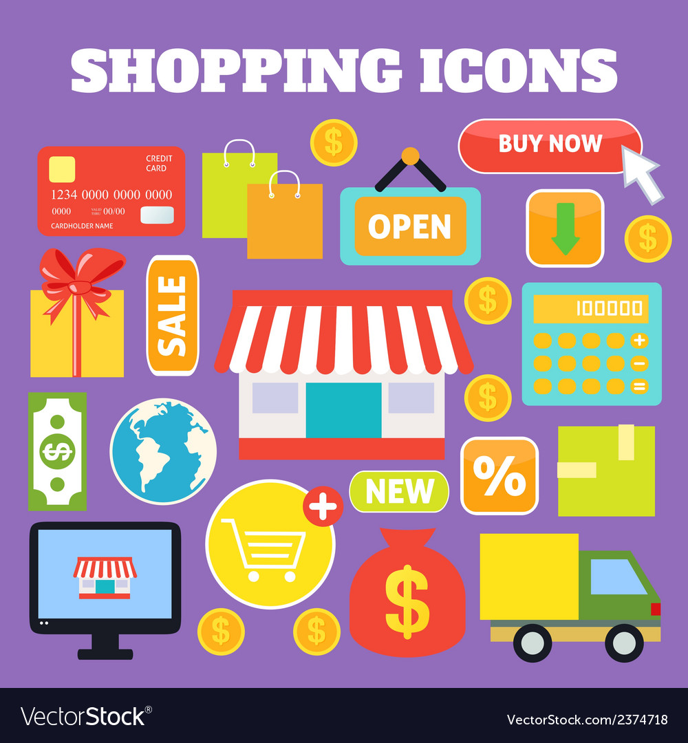 Shopping decorative icons vector   Price: 1 Credit (USD $1)