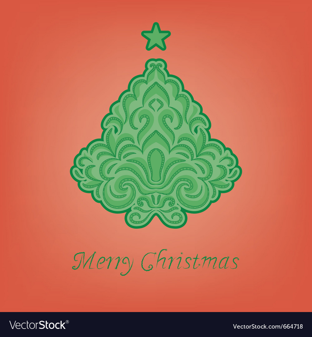 Stylized fir on a red background vector | Price: 1 Credit (USD $1)