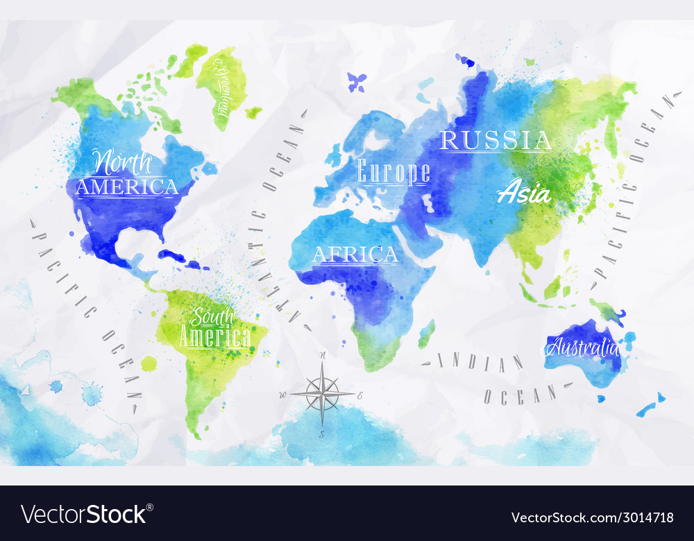 Watercolor world map green blue vector | Price: 1 Credit (USD $1)