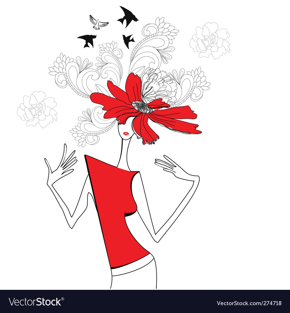 Woman with red flowers vector | Price: 1 Credit (USD $1)