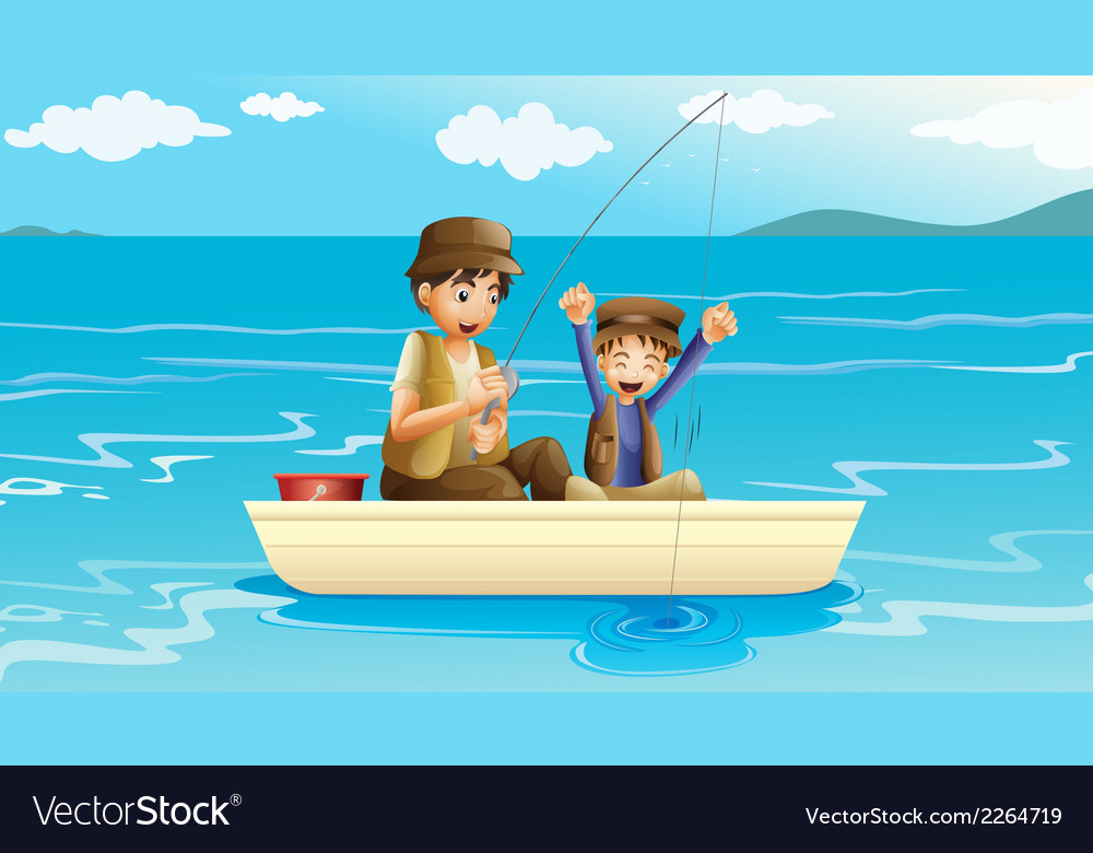 A father and a son fishing vector | Price: 1 Credit (USD $1)
