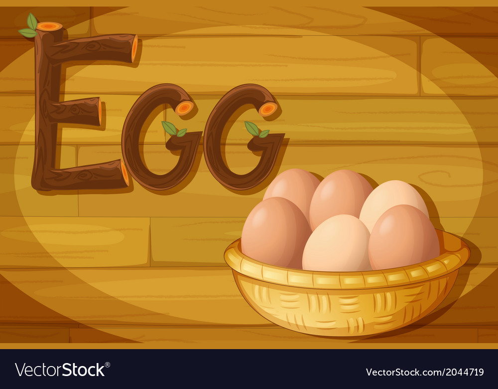 A frame with a basket of eggs vector | Price: 1 Credit (USD $1)