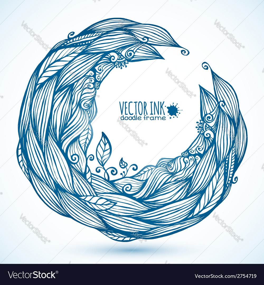 Blue hair waves doodle circle frame vector | Price: 1 Credit (USD $1)