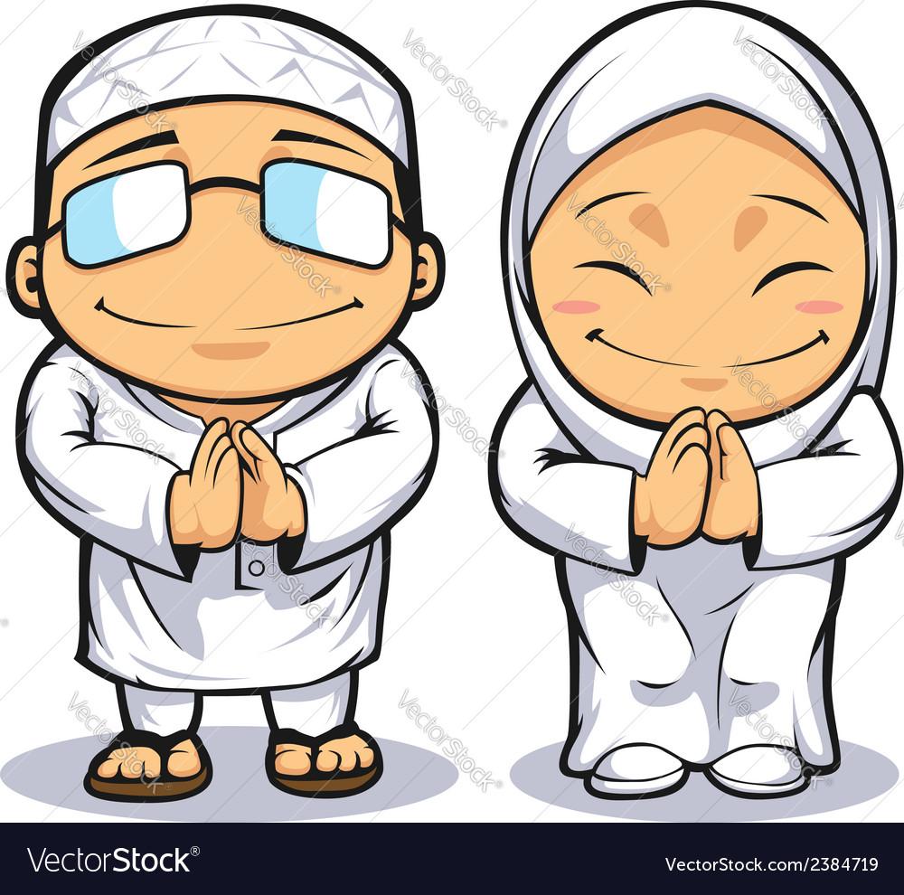 Cartoon of muslim man woman vector | Price: 1 Credit (USD $1)