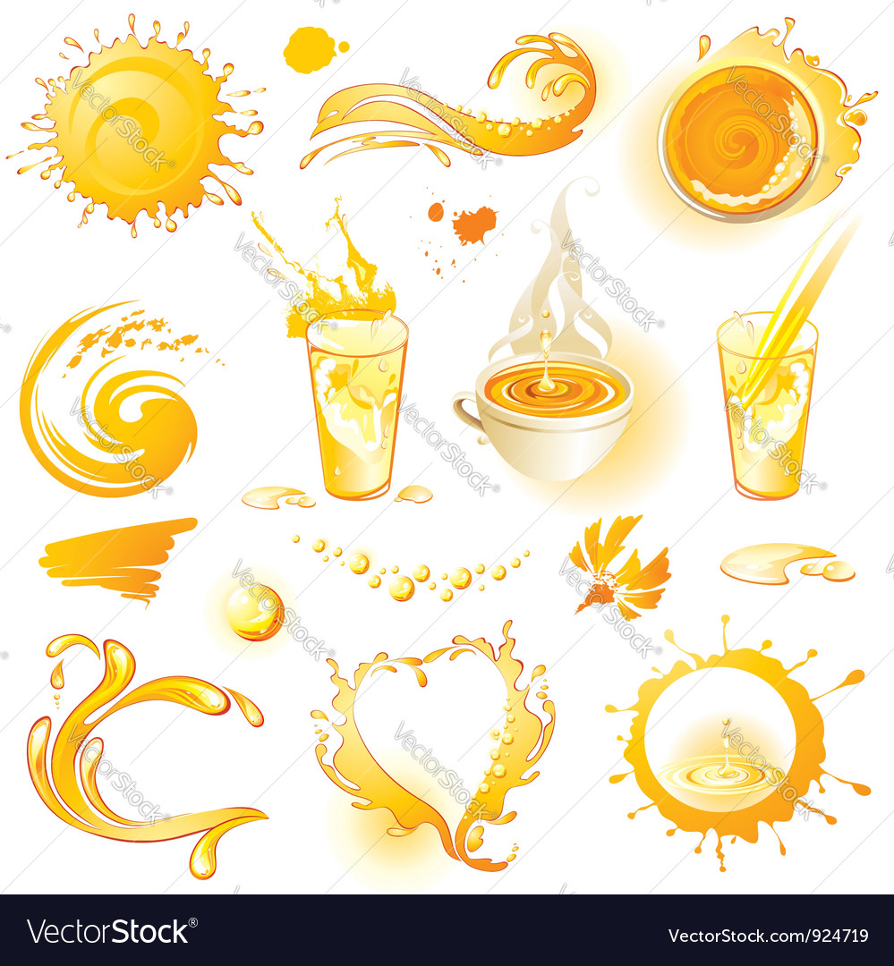 Collection of orange design elements vector | Price: 3 Credit (USD $3)