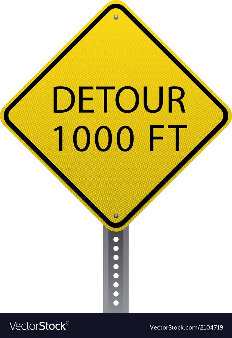 Detour 1000 ft sign vector | Price: 1 Credit (USD $1)