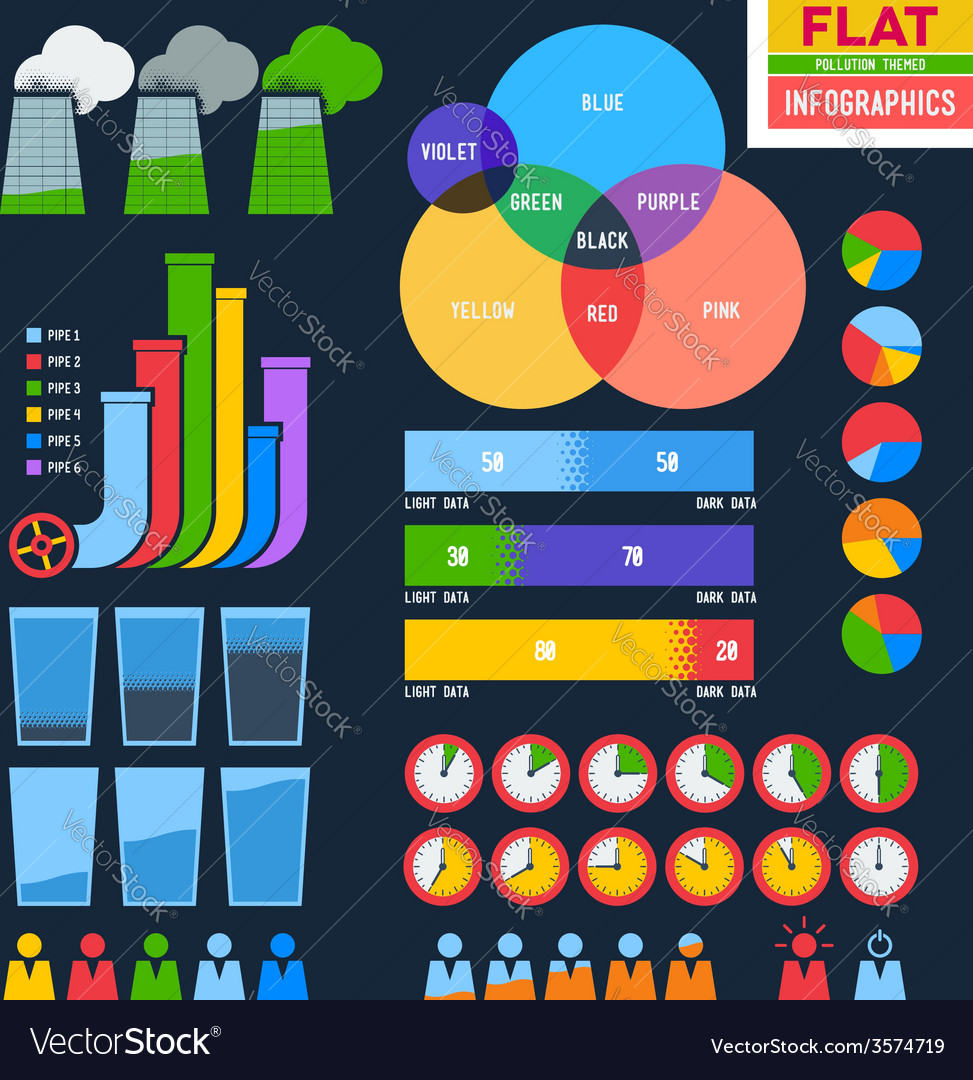 Flat infographic icons with pipes vector | Price: 1 Credit (USD $1)