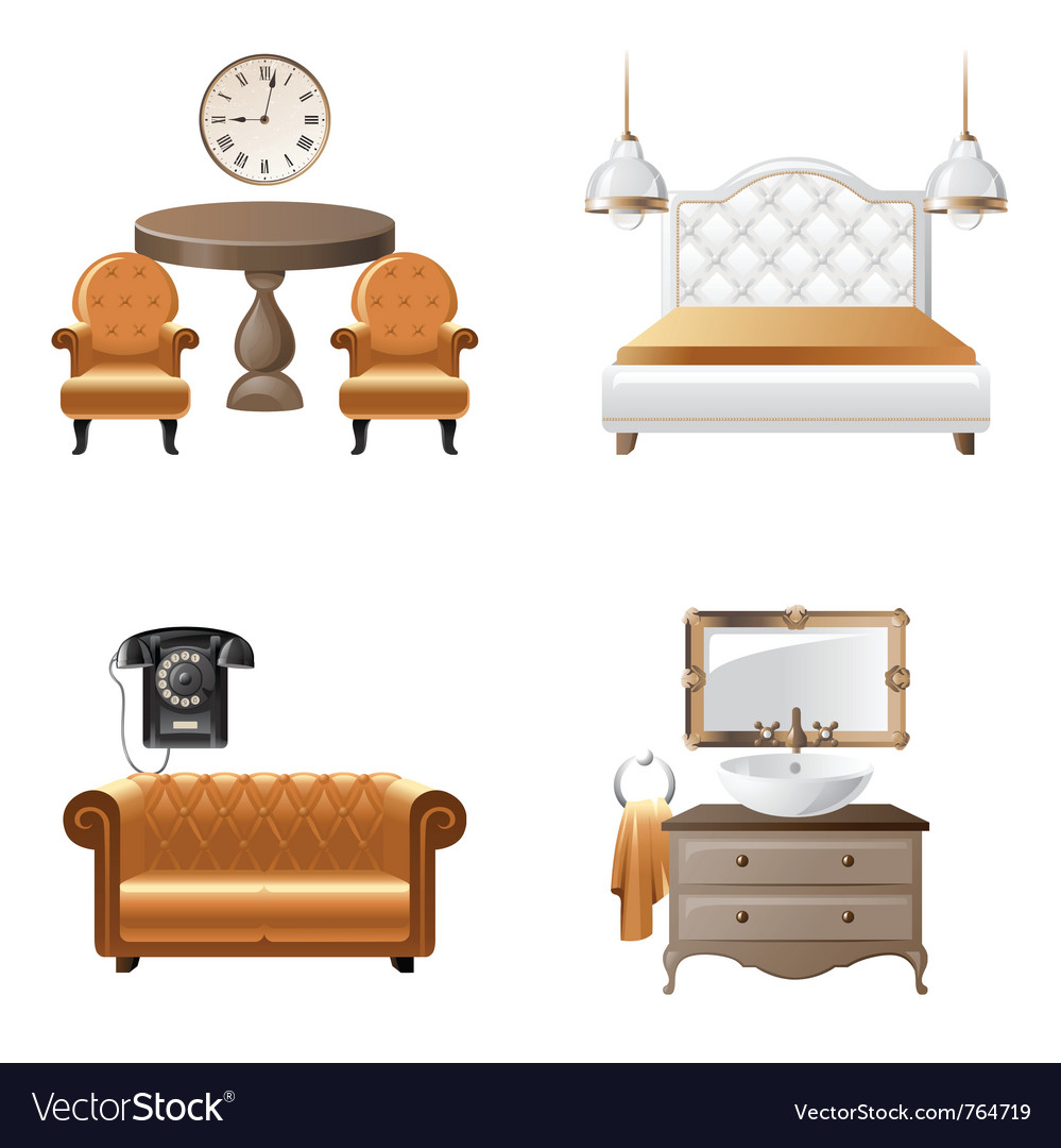 Home interior design elements icons vector | Price: 3 Credit (USD $3)
