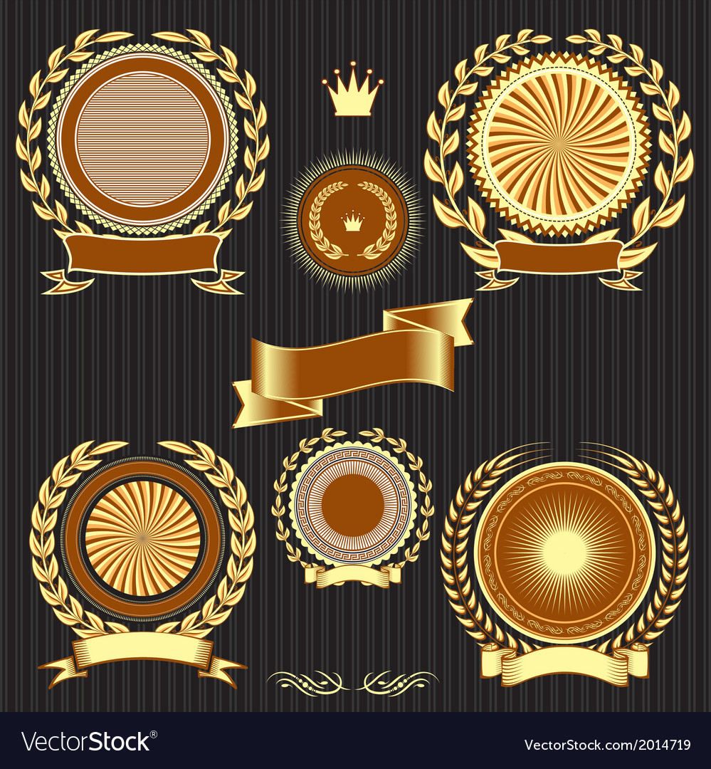 Insignia designs set shields laurel wreaths and ri vector | Price: 1 Credit (USD $1)