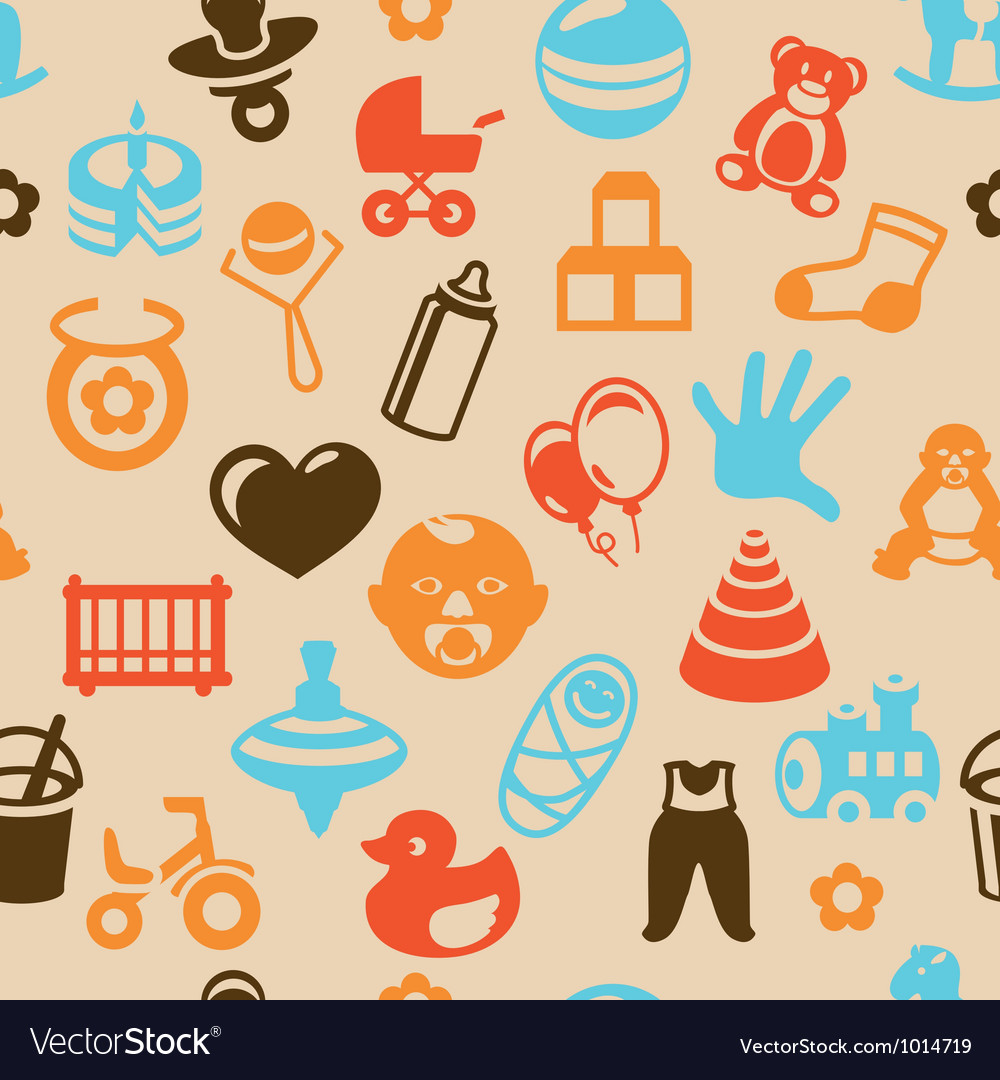Seamless pattern with bright kid icons vector | Price: 1 Credit (USD $1)