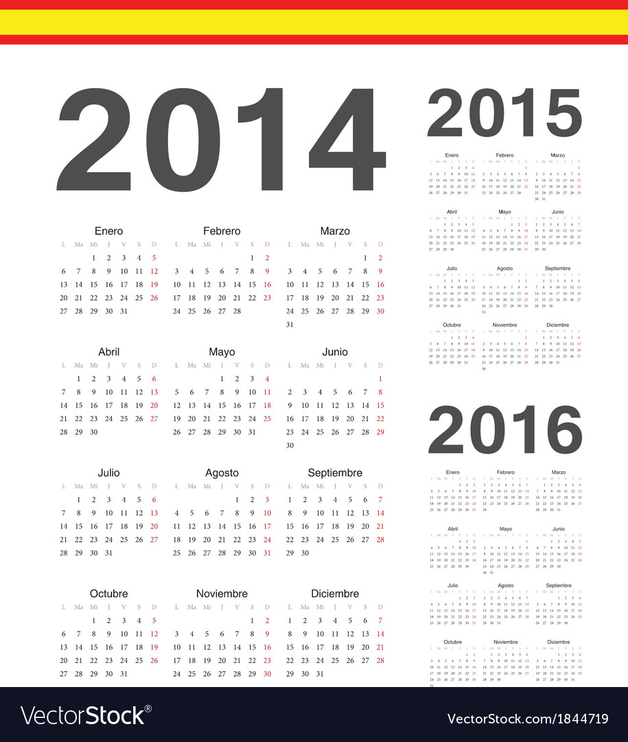 Set of spanish 2014 2015 2016 calendars vector | Price: 1 Credit (USD $1)