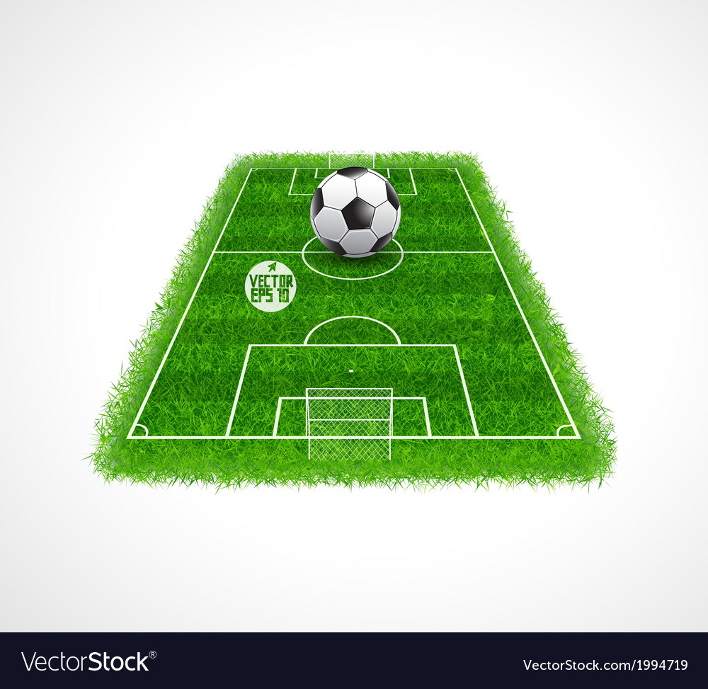 Soccer field perspective view realistic grass vector | Price: 1 Credit (USD $1)