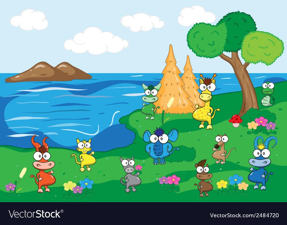 Animals in coastal and meadows vector | Price: 1 Credit (USD $1)