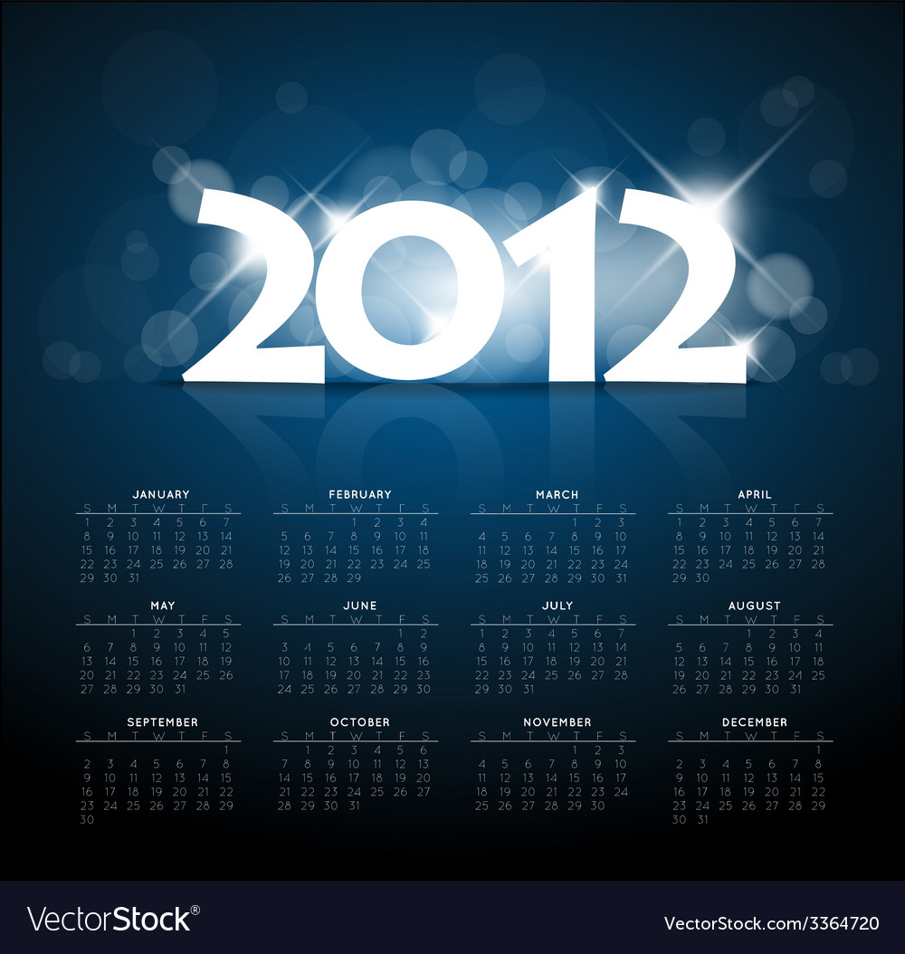 Blue calendar for the new year 2012 with back vector | Price: 1 Credit (USD $1)